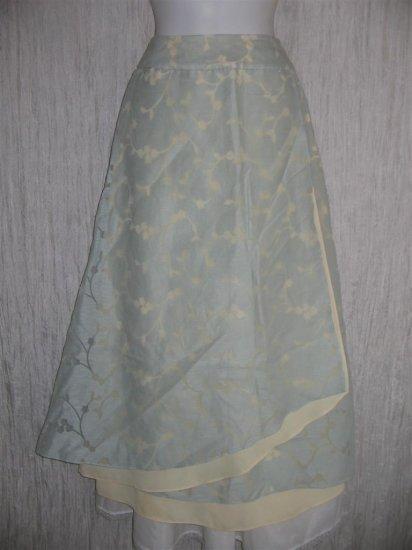 J. Jill Long Soft Blue Layered LINEN Floral Lace Skirt 6