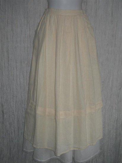 FLAX Long & Full Textured Cream LINEN Skirt Jeanne Engelhart Small S
