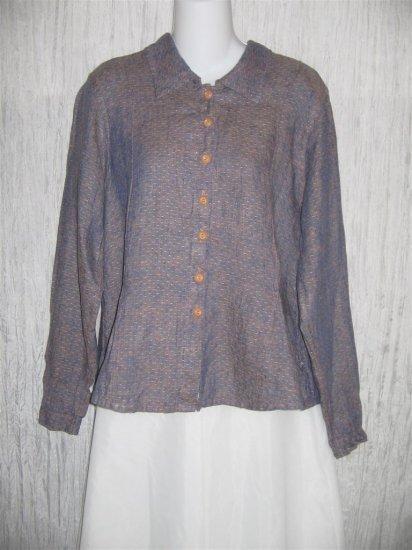 FLAX Purple Textured Fitted LINEN Button Shirt Top Jeanne Engelhart P