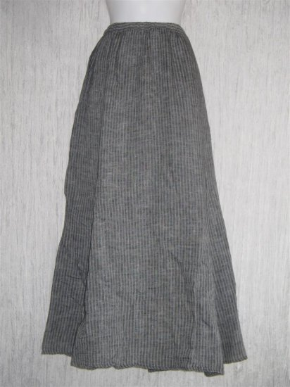 Flax by Jeanne Engelhart Black Waves Linen A-Line Long & Full Striped Skirt 3G