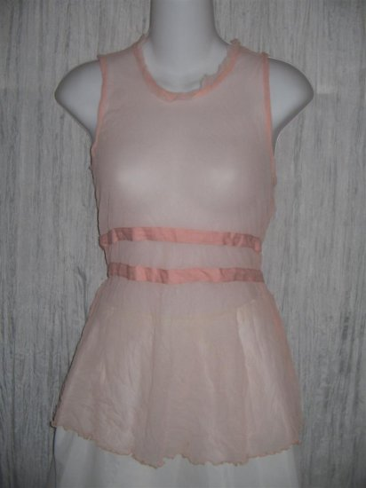New NEESH by D.A.R. Shear Pink Shapely Ruffled Layering Shirt Top Large L