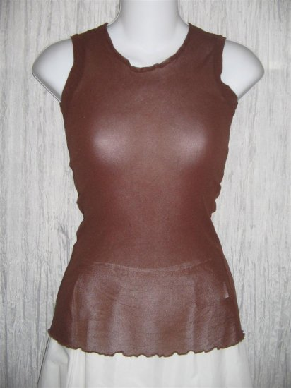 New NEESH by D.A.R. Shear Brown Ruffled Layering Shirt Top Medium M