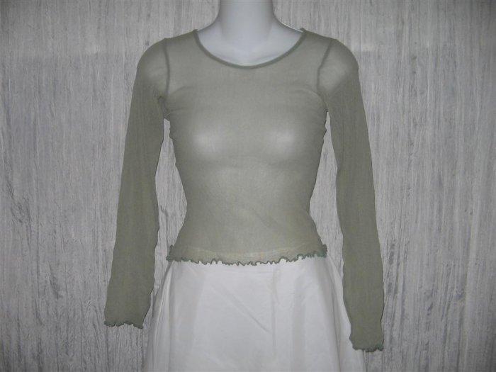 New NEESH by D.A.R. Shear Green Ruffled Layering Shirt Top Small S
