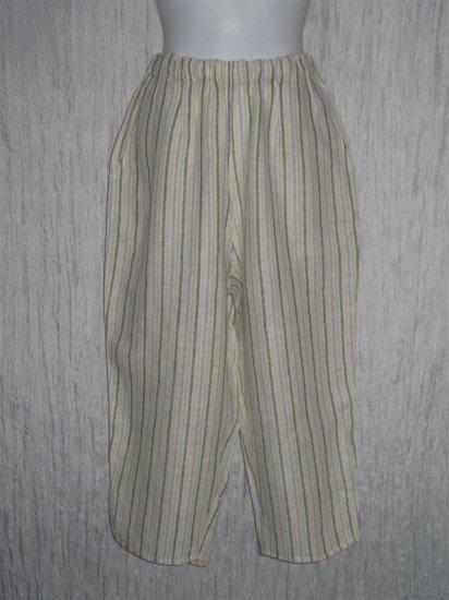 FLAX by Jeanne Engelhart Striped LINEN Capri Pants Small