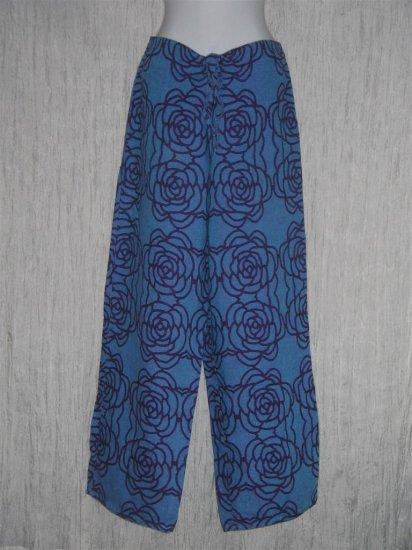 FLAX Dreamy Blue Floral Long Loose Linen Pants Engelhart Small S