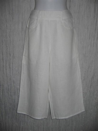 New FLAX Cropped White Linen Sailor Floods Pants Jeanne Engelhart Small S