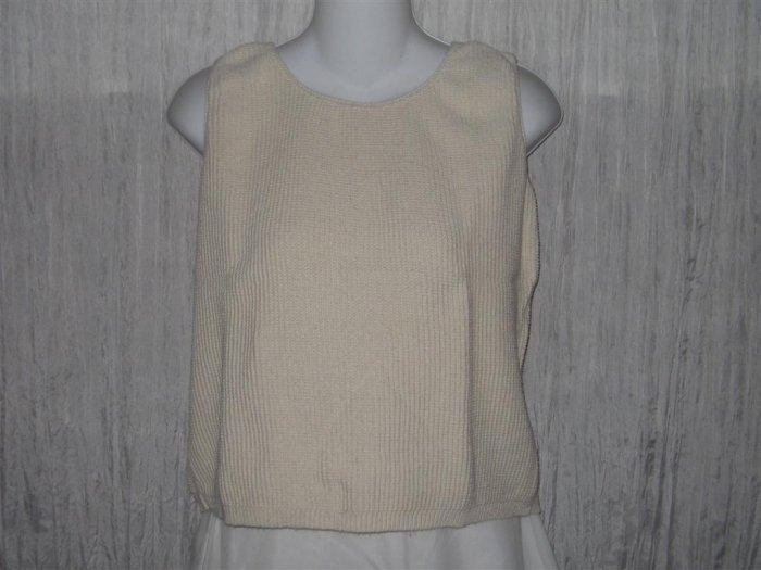A Knitch Above Textured Cream Cotton Knit Pullover Tank Top Shirt Small S
