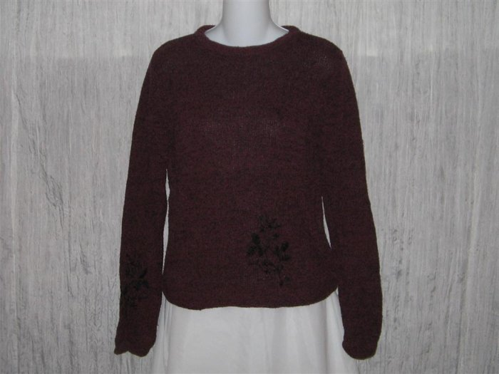 Kindred Spirit Rich Purple Floral Silk Knit Pullover Sweater Top X-Small XS