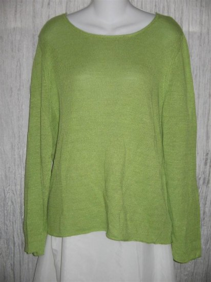 Chico's SLinky Green Linen Rayon Knit Tunic Top Sweater 2