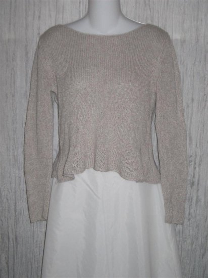 Eileen Fisher Taupe Linen Rayon Knit Pullover Sweater Top X-Small XS