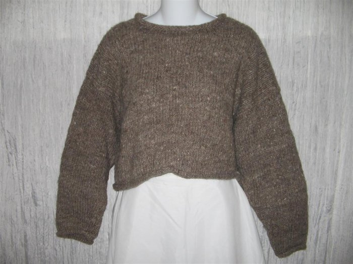 Dusty Roads Cropped Thick Earthy Wool Sweater OS
