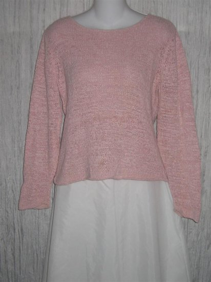 J. Jill Soft Pink Loose Knit Cropped Pullover Sweater Top Large Petite LP