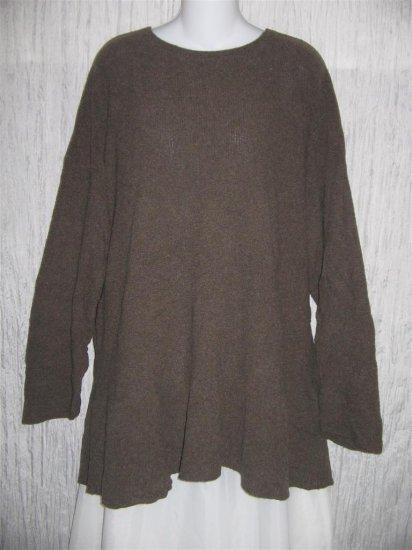FLAX by ANGELHEART Brown Cashmere Blend Tunic Sweater Engelhart M L