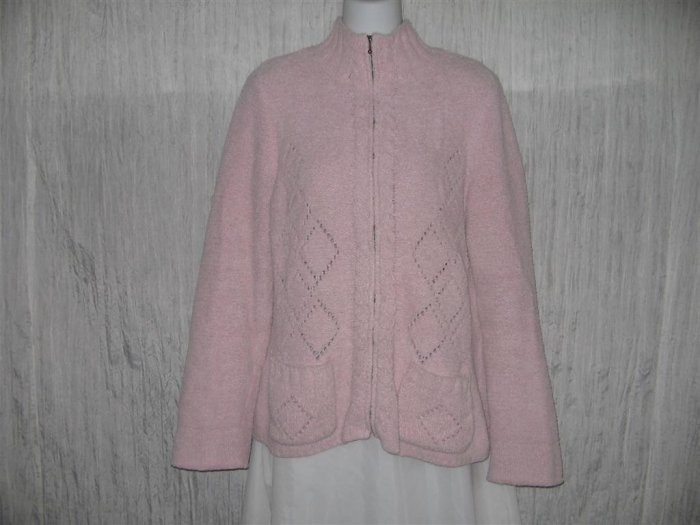 SIGRID OLSEN Soft Pink Zip Cardigan Sweater Large L