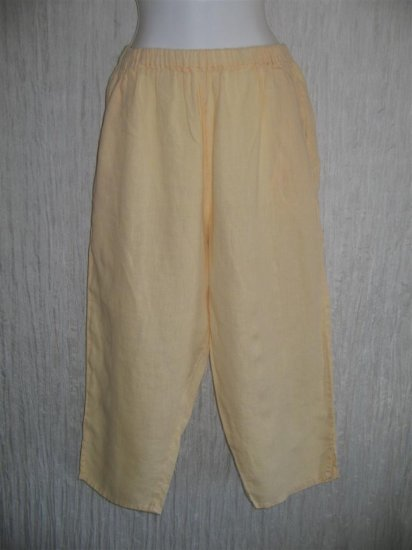 FLAX by Jeanne Engelhart Yellow LINEN Capri Pants Medium M