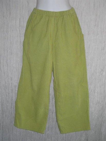 FLAX Green Cotton Corduroy Pants Jeanne Engelhart Small S