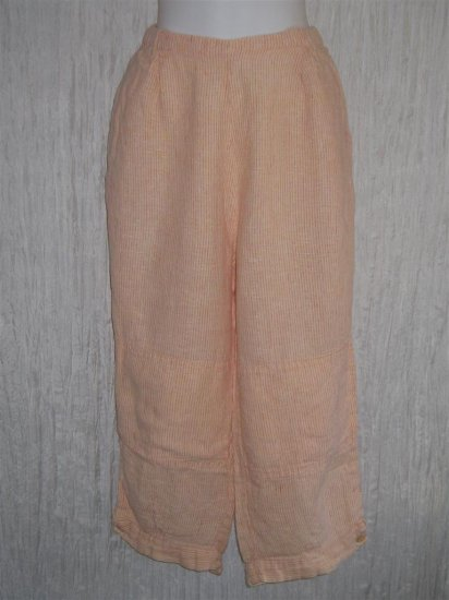 FLAX Orange Linen Floods Pants Jeanne Engelhart Medium M