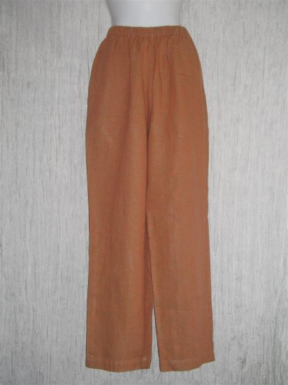 FLAX Orange Crossweave Linen Pants Jeanne Engelhart Small S