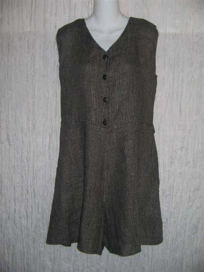Jeanne Engelhart FLAX Black Grid Linen Shorts Shirt Romper Outfit Medium M