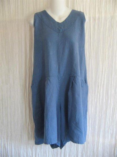 Jeanne Engelhart FLAX by Angelheart Blue Linen Shorts Shirt Romper Outfit Large L