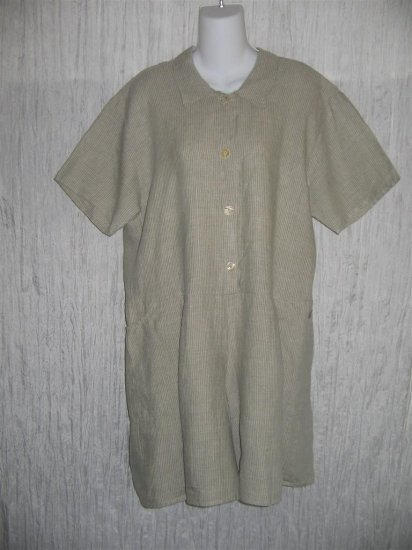 Jeanne Engelhart FLAX by Angelheart Striped Linen Shorts Shirt Romper Outfit Medium M