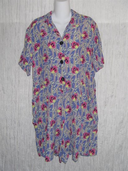 Jeanne Engelhart FLAX Tropics Rayon Shorts Shirt Romper Outfit Small S