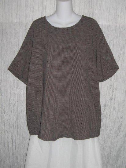 Flax by Jeanne Engelheart Black Taupe Check Tunic Top Shirt Medium M
