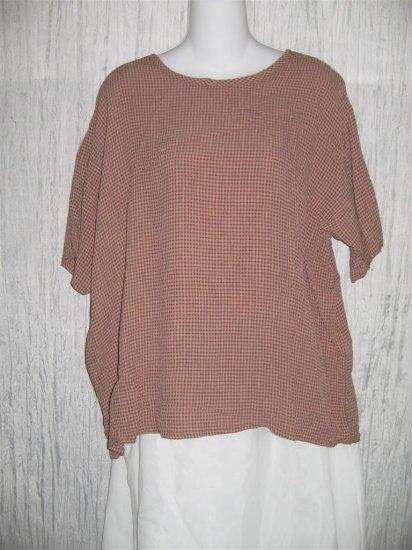 Flax by Jeanne Engelheart Chocolate Check Tunic Top Shirt Medium M