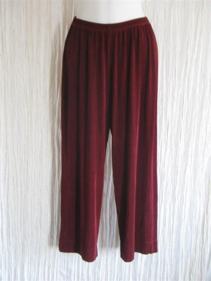 CHICO's Travelers Slinky Burgundy Wide Leg Pants 1