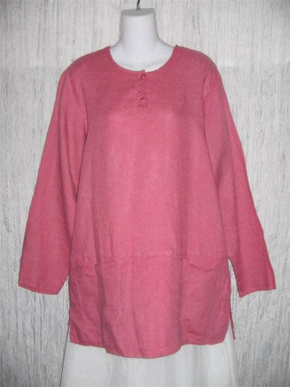 Jeanne Engelhart FLAX Pink Skirted Linen Pullover Shirt Tunic Top Medium M