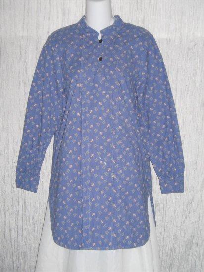 Jeanne Engelhart FLAX Blue Corduroy Tunic Top Shirt Petite P
