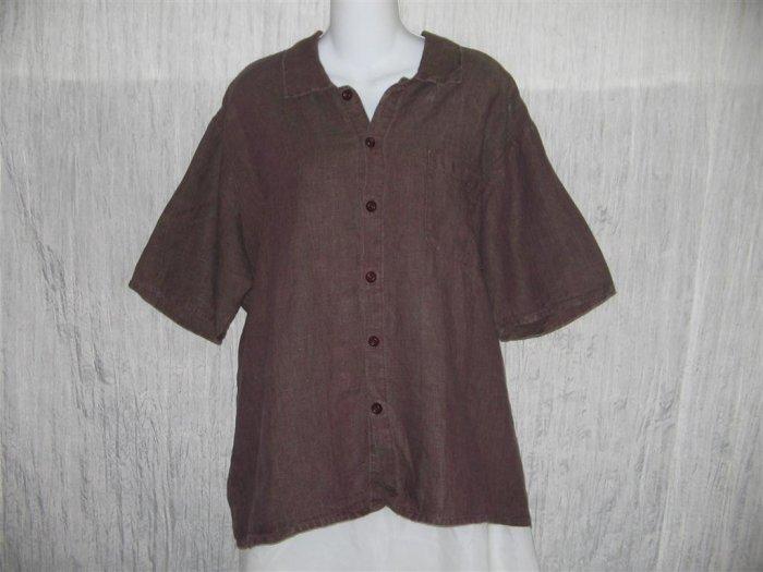 Jeanne Engelhart FLAX Linen Button Shirt Tunic Top Small S
