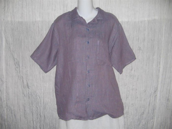 Jeanne Engelhart FLAX Purple Grid Linen Button Shirt Tunic Top Petite P