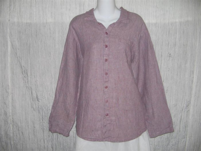 Jeanne Engelhart FLAX Purple Linen Button Shirt Tunic Top Engelhart Petite P