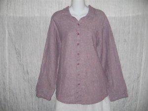 Jeanne Engelhart FLAX Purple Linen Button Shirt Tunic Top Engelhart Petite P