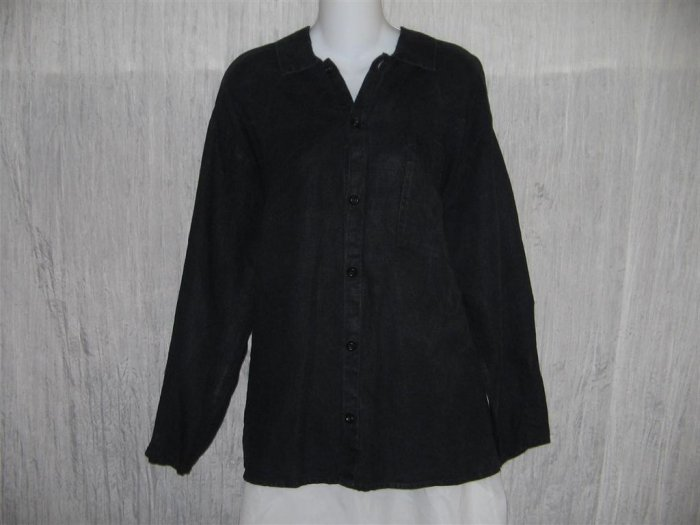 Jeanne Engelhart FLAX Black Linen Button Shirt Tunic Top Medium M