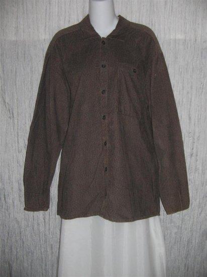 Jeanne Engelhart FLAX Brown Corduroy Button Shirt Tunic Top Small S