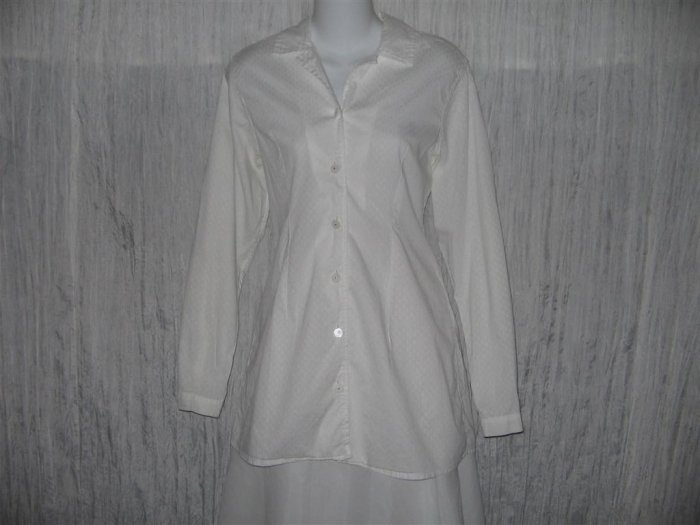 Jeanne Engelhart FLAX Long Shapely White Tunic Top Shirt Small S