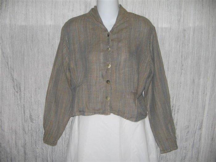 Jeanne Engelhart FLAX Shapely Linen Button Shirt Tunic Top Petite P