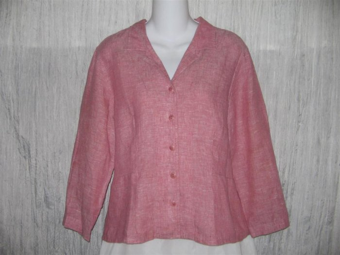 FLAX Shapely Pink Linen Button Shirt Tunic Top Engelhart Small S