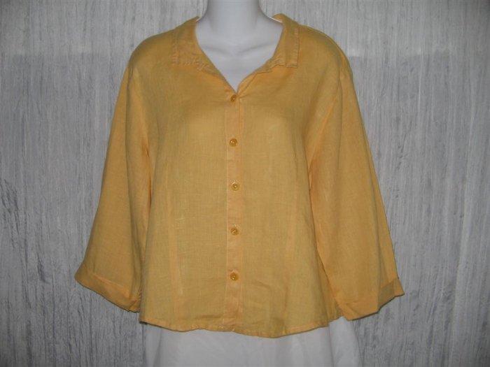 FLAX Shapely Linen Button Shirt Tunic Top Engelhart Medium M