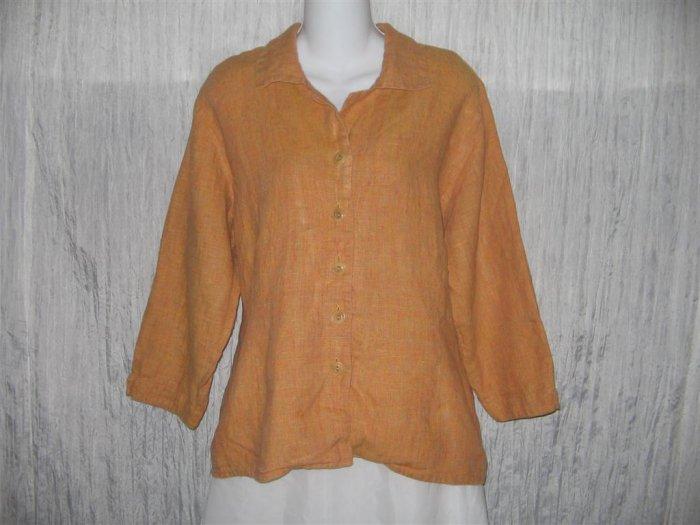 Jeanne Engelhart FLAX Shapely Orange Linen Button Shirt Tunic Top Medium M