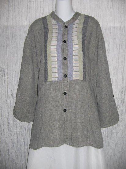 Jeanne Engelhart FLAX Button Tunic Top Shirt Large L