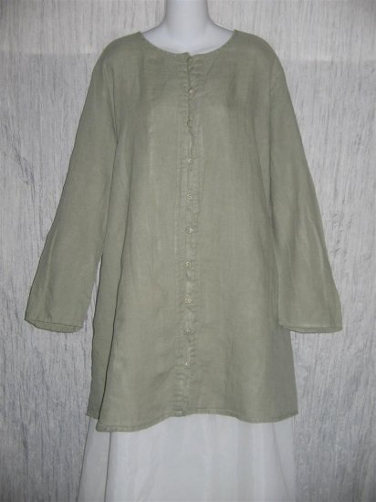 Jeanne Engelhart FLAX Soft Green Linen Button Tunic Top Shirt 2G