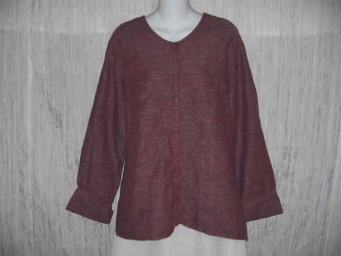 Jeanne Engelhart FLAX Mixed Berry Linen Snappy Tunic Top Shirt Medium M