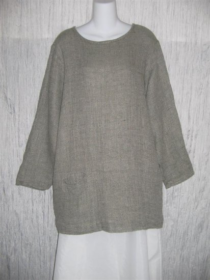 FLAX by Jeanne Engelhart Long Thermal Linen Pocket Tunic Top Shirt Small S