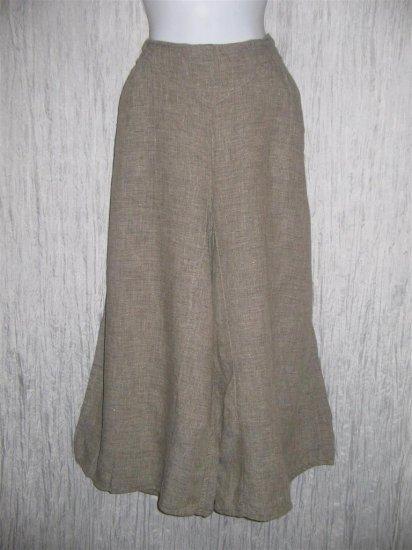 Jeanne Engelhart FLAX Gray LINEN Wide Leg Gauchos Pants Medium M