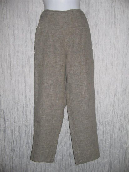 Jeanne Engelhart FLAX Gray Long LINEN Pants Medium M
