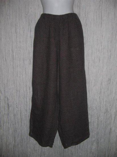 FLAX by Jeanne Engelhart Brown Basket Weave LINEN Pants 1G