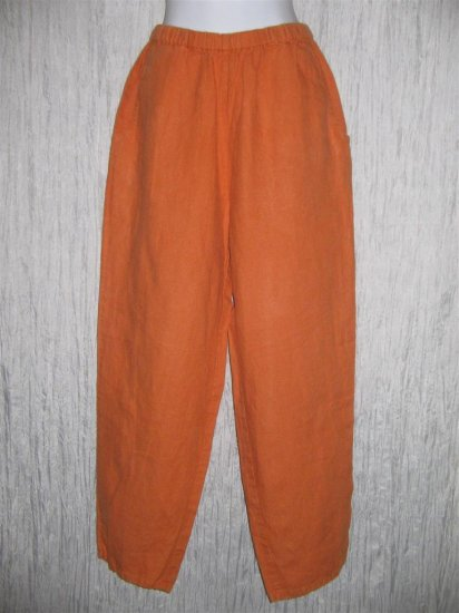 FLAX Long Orange Linen Pants Jeanne Engelhart Small S
